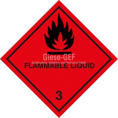 "Gefahrgutetiketten Klasse 3 ""Flammable Liqiud"""