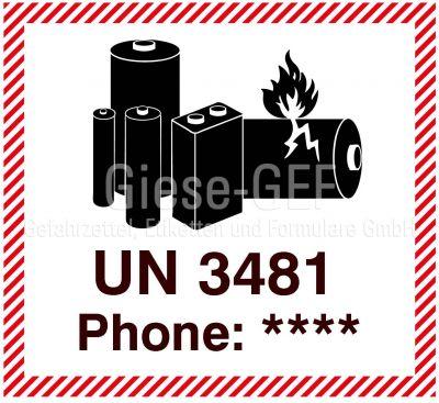 """IATA-Kennzeichen """"Lithium ion Battery UN 3481"""" mit Telefoneindruck"""