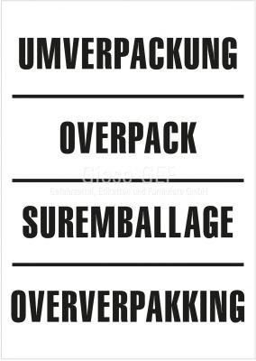 Versandetikett Umverpackung 4-Sprachig