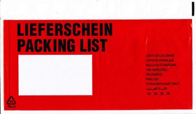 Aufdruck LIEFERSCHEIN / PACKING LIST (10-sprachig) DIN C6