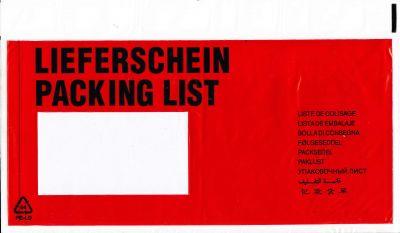 Aufdruck LIEFERSCHEIN / PACKING LIST (10-sprachig) DIN C6