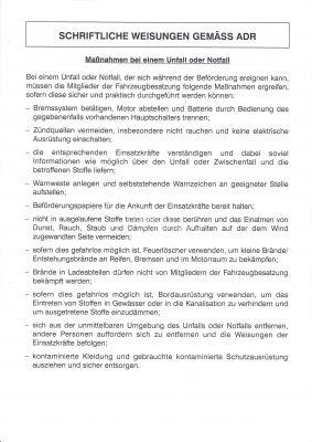 Schriftliche Weisung nach ADR 4-seitig / 4-farbig Euroscala