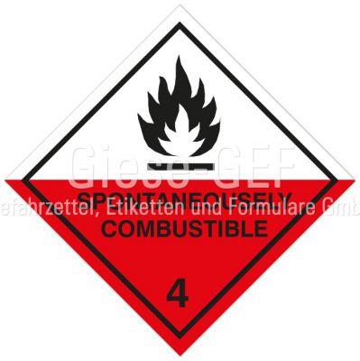"Gefahrgutetiketten Klasse 4.2 ""Spontaneously Combustible"""