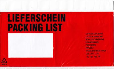 Aufdruck LIEFERSCHEIN / PACKING LIST (10-sprachig) LANG DIN 24,0 x 14,3 cm