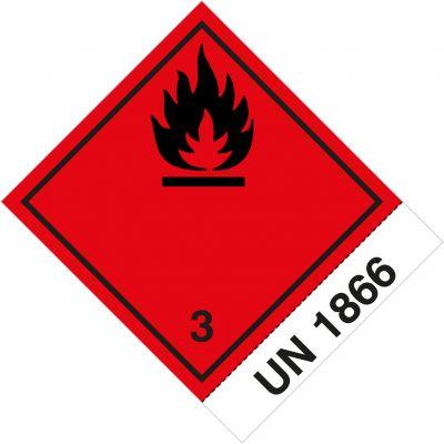 Sonderanfertigung Gefahrzettel Klasse 3, mit Ihrer UN-Nummer z.B.: UN 1866