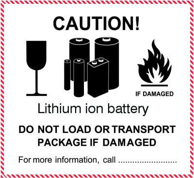 """IATA-Kennzeichen """"Lithium ion battery"""" PVC-einzeln"""