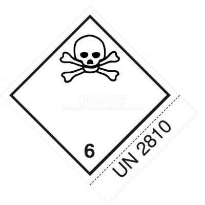 Sonderanfertigung Gefahrzettel Nr. 6.1 mit Ihre UN-Nummer; z.B. UN 2810