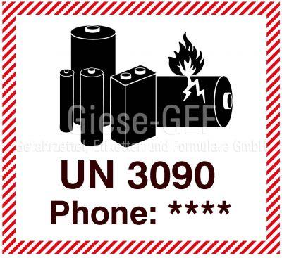 """Etiketten """"Lithium Metal Battery UN 3090"""" mit Telefoneindruck"""