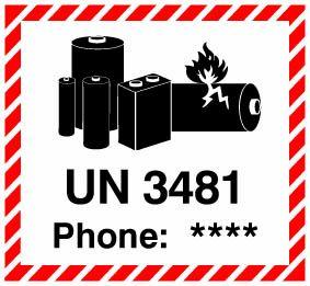 """Etiketten """"Lithium ion Battery UN 3481"""" mit Telefoneindruck"""
