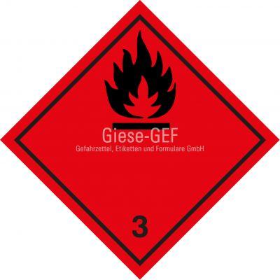 """Gefahrgutetiketten Klasse 3 """"Entzündbare flüssige Stoffe"""""""
