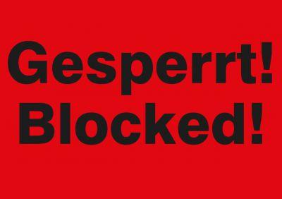 Versandetikett Gesperrt! 2-sprachig DE/ENG (zweifarbig)