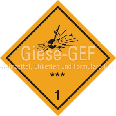 Sonderanfertigung Gefahrzettel Klasse 1, mit Ihre Unterklasse & Verträglichkeitsgruppe