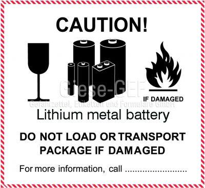 """IATA-Kennzeichen """"Lithium metal battery"""" PVC-einzeln"""
