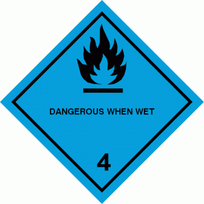 "Gefahrgutetiketten Klasse 4.3 ""DANGEROUS WHEN WET"""