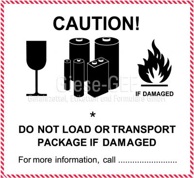 """IATA-Kennzeichen """"Lithium - battery"""" neutral PVC-einzeln"""