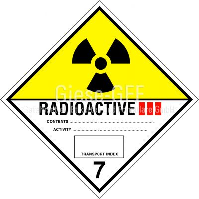 Nr. 7C Radioaktive Stoffe Kategorie III - GELB