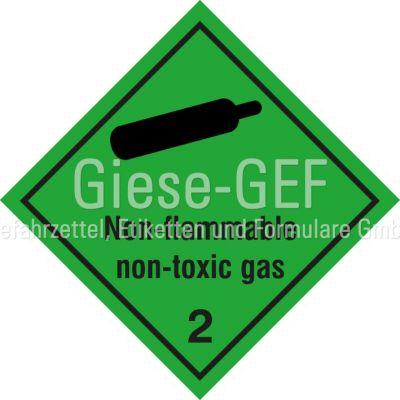"""Gefahrgutetiketten Klasse 2.2 """"NON-FLAMMABLE,NON-TOXIC GAS"""""""