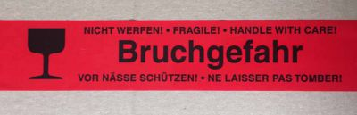 Warndruckklebeband Bruchgefahr 50mm x 66m