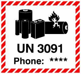 """Etiketten """"Lithium Metal Battery UN 3091"""" mit Telefoneindruck"""