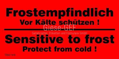 Transportetiketten Frostempfindlich - Vor Kälte schützen! / Sensitive ot frost - Protect from Cold