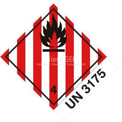 Sonderanfertigung Gefahrgutetiketten Klasse 4.1, mit Ihrer UN-Nummer z.b. UN 3175