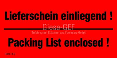 Transportetiketten Lieferschein einliegend! - Packing List enclosed!