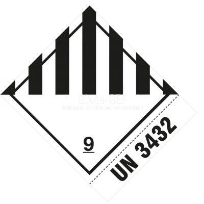Sonderanfertigung Gefahrzettel Nr. 9 mit Ihrer UN-Nummer z. B. UN 3432