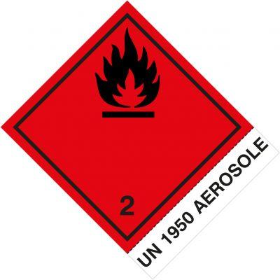 """Gefahrgutetiketten Klasse 2.1 mit Eindruck """"UN 1950 AEROSOLE"""""""