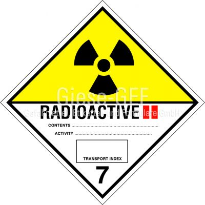 Nr. 7B Radioaktive Stoffe Kategorie II - GELB