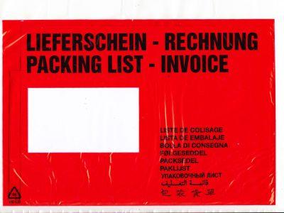 Aufdruck LIEFERSCHEIN / RECHNUNG (10-sprachig) DIN C5