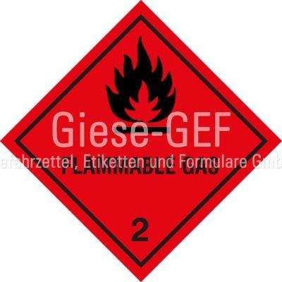 "Gefahrgutetiketten Klasse 2.1 ""Flammable Gas"""