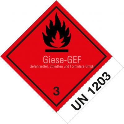 """Gefahrgutetiketten Klasse 3 mit Eindruck """"UN 1203"""""""