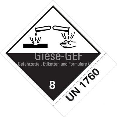 Sonderanfertigung Gefahrzettel Nr. 8 mit Ihrer UN-Nummer z. B. UN 1760