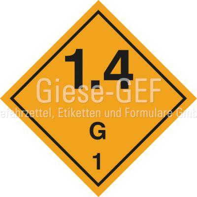 Explosive Stoffe und Gegenstände mit Explosivstoff Unterklasse 1.4, Verträglichkeitsgruppe G