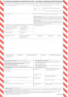Multimodale Erklärung für gefährliche Güter - Moltimodal Dangerous Goods Declaration