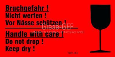 Transportetiketten Bruchgefahr! Nicht werfen! Vor Nässen schützen! / Handle with care! Do not drop!